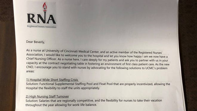 Nurses at the University of Cincinnati Medical Center welcome a new boss with a letter that explains what they are seeking in a labor contract.