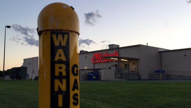 """The 20"""" Columbia natural gas pipeline winds its way behind the shopping center including Michael's in Waynesboro."""