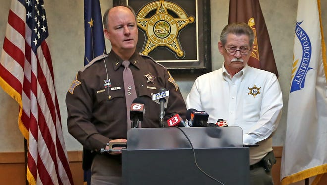Hamilton County Sheriff Mark Bowen, left, and coroner John Chalfin give an update on the Christmas Day double homicide and suicide in Noblesville.