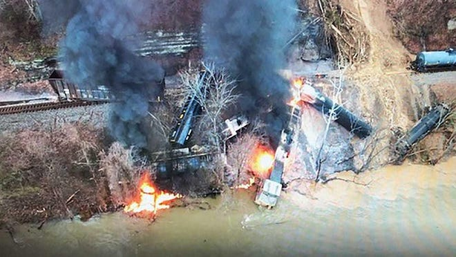 A drone image shows a train derailment in Pikeville, Ky. on Thursday. A large rock slide caused the derailment, briefly trapping two crew members and causing a chemical leak into a river, authorities said.