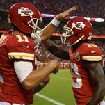 Kansas City Chiefs quarterback Alex Smith (left) has raved all training camp about how much of an upgrade Jeremy Maclin is to the wide receiver corps, and the former Missouri standout tossed the praise right back at him.