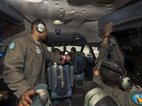 A 9th Airlift Squadron aircrew undergoes preflight procedures Aug. 2, 2017, at Dover Air Force Base, Delaware. The 9th AS is Team Dover's active duty squadron that operates the C-5M.