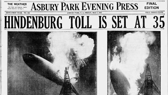 The front page of the Asbury Park Press on May 7, 1937, the day after the Hindenburg disaster at Lakehurst.