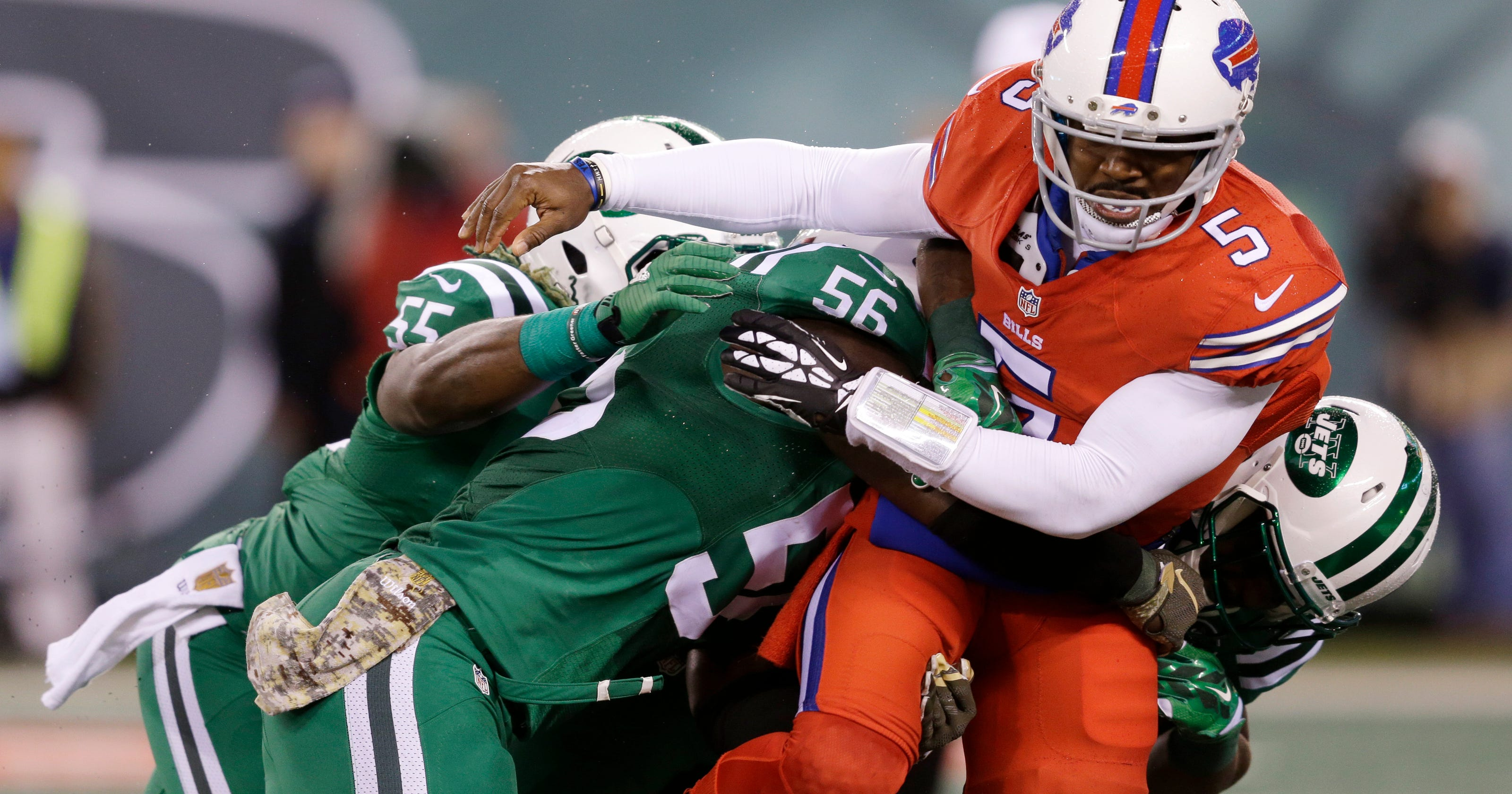 360167a01 Bright and bold  Bills-Jets wearing  Color Rush  uniforms