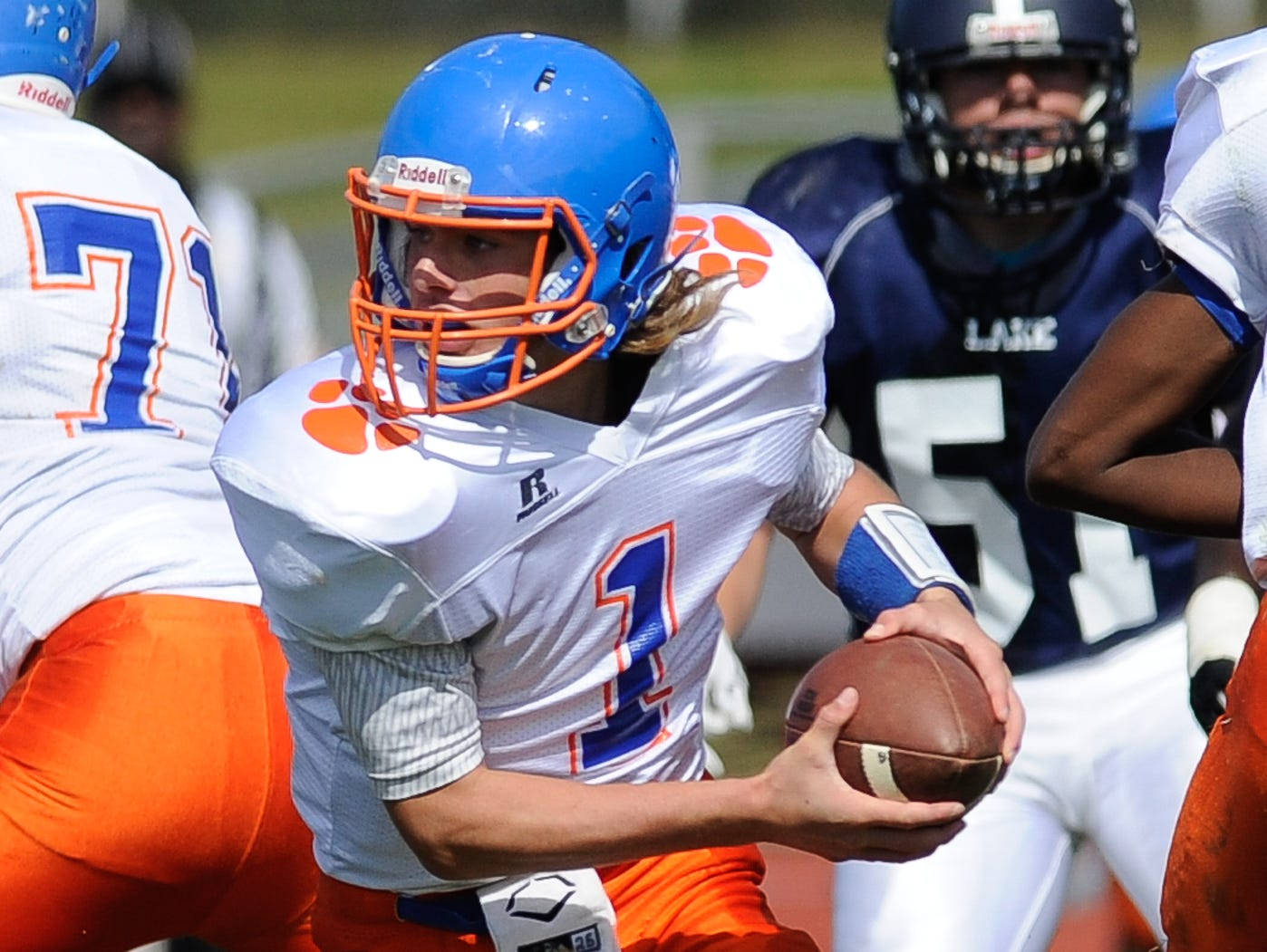Delmar's quarterback #1 James Adkins with the ball in their 19-14 lose to Lake Forest on Saturday at Lake Forest High School.
