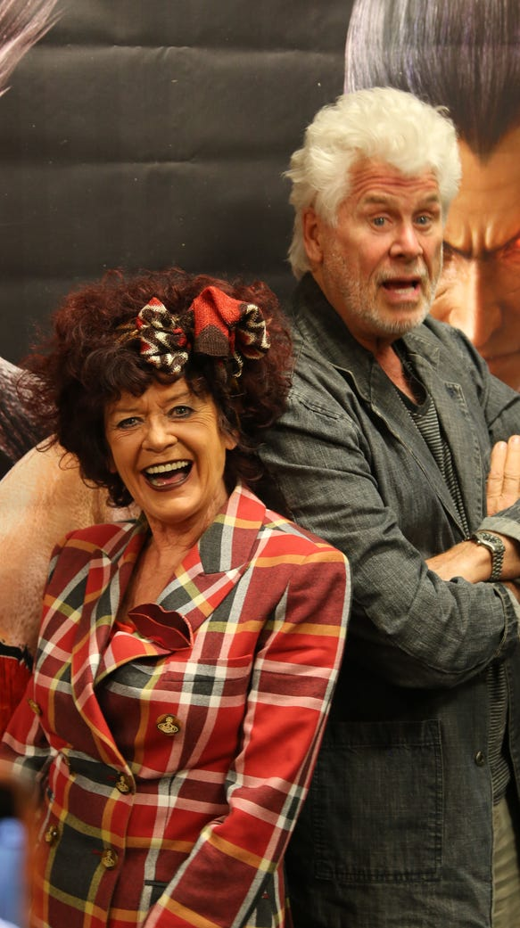 Patricia Quinn, left, and Barry Bostwick, right, pose