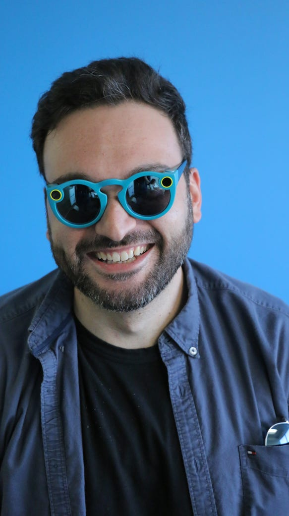 Comedian Nemr poses in new Snapchat Spectacles video