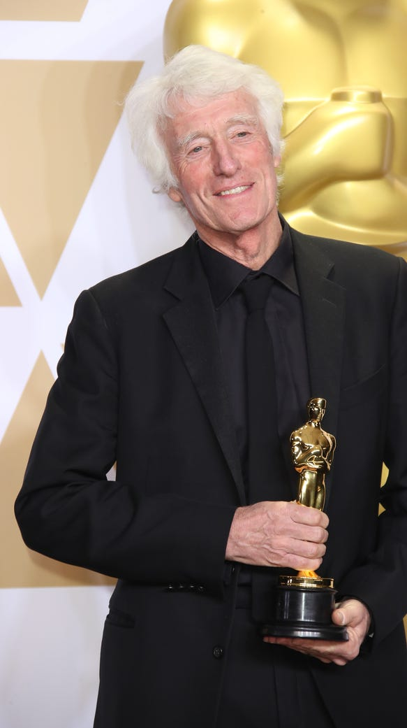 Roger Deakins was happy to celebrate his win, and also
