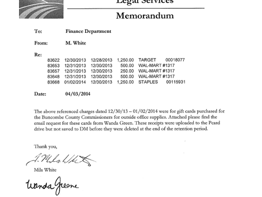 A 2014 memo signed by former Buncombe manager Wanda