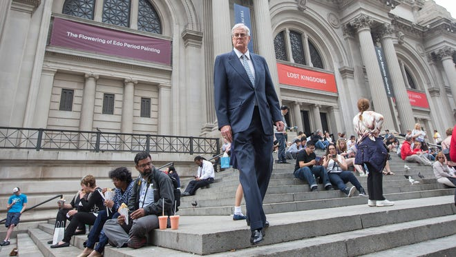 This photo taken June 11, 2014 shows David Koch outside the Metropolitan Museum of Art in New York City. They?re demonized by Democrats, who lack a liberal equal to counter their weight, and not entirely understood by Republicans, who benefit from their seemingly limitless donations. Koch, the executive vice president of Wichita's Koch Industries, is a trustee of the museum.