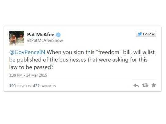 Pat McAfee tweeted to Gov. Mike Pence Thursday.