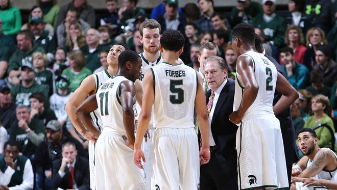 Michigan State coach Tom Izzo gives instructions to his team against the Texas Southern Tigers at the Breslin Center on Saturday in East Lansing.