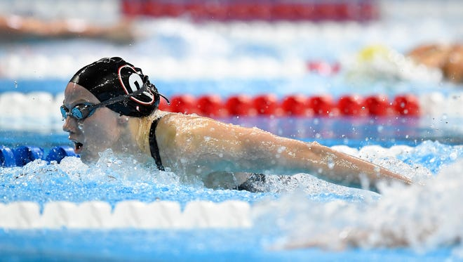 Hali Flickinger swims in the women's 200-meter butterfly final at the U.S. Olympic swimming trials Thursday in Omaha, Neb.