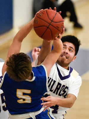 Melrose's Francisco Cervantes, right, gets called for a foul on St. Cloud Cathedral's Jackson Baustian-Jangula, 5, as he shoots during the first half Tuesday, Jan. 17 at Cathedral High School.