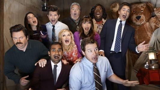 "The cast of NBC's ""Parks and Recreation"" in its fifth season: Nick Offerman (from left), Aubrey Plaza, Aziz Ansari, Adam Scott, Amy Poehler, Jim O'Heir, Rashida Jones, Chris Pratt, Retta and Rob Lowe."