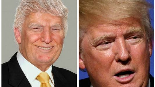 A side-by-side of a potentially aged Donald Trump, courtesy of Sachs Media Group and the artists at Phojoe, and a picture of Trump in 2015.
