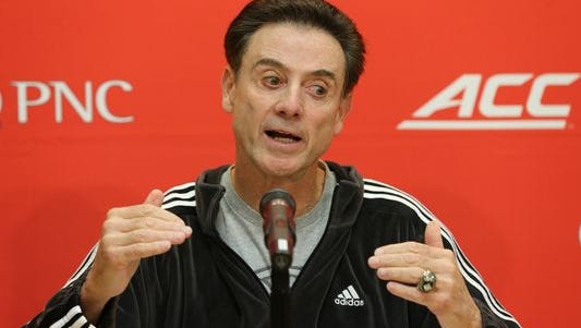 Louisville coach Rick Pitino responds to questions from the media Jan. 1, 2016, during a press conference at the University of Louisville.