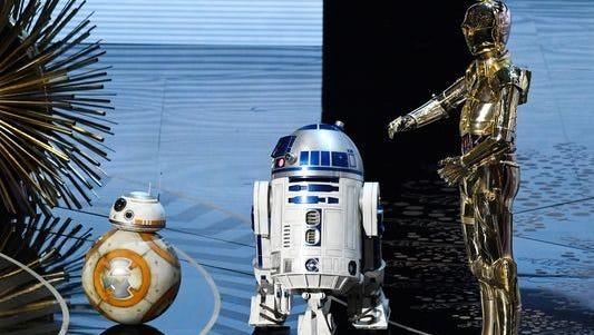 'Star Wars' droid characters BB8, R2D2 and C3PO appear at the Academy Awards.