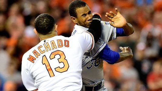 Manny Machado received a four-game suspension on Thursday, June 9, for this punch that he threw on Tuesday, June 7. He will appeal.