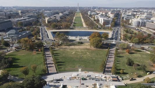 The presidential inauguration stand is under construction at the National Mall on Nov. 15, 2016.