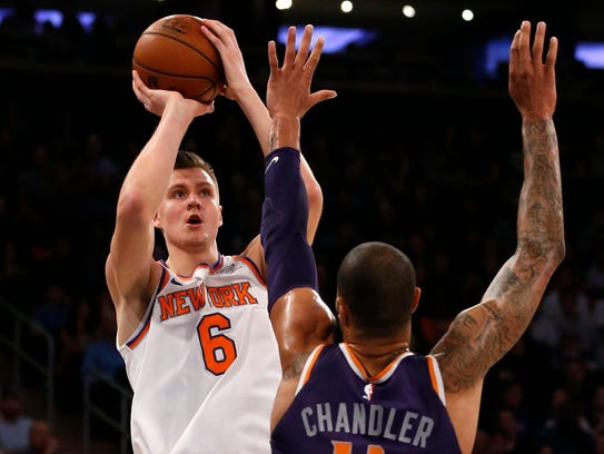Knicks forward Kristaps Porzingis finished with 37 points on 13-of-22 shooting against the Suns on Friday.