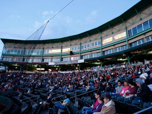 The crowd at the Easter Sunrise Service at Hammons Field on April 20, 2014.