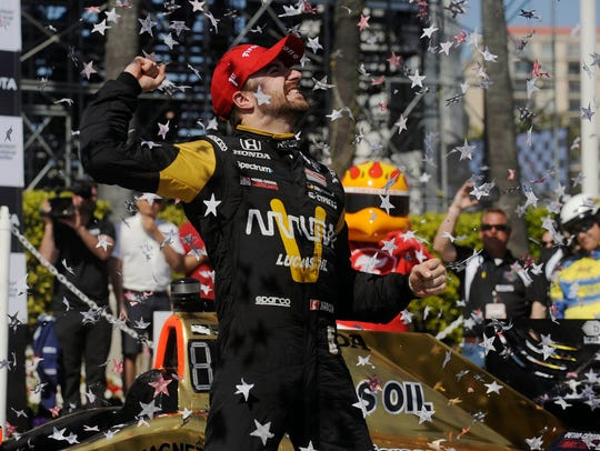 James Hinchcliffe celebrates his victory of the Toyota