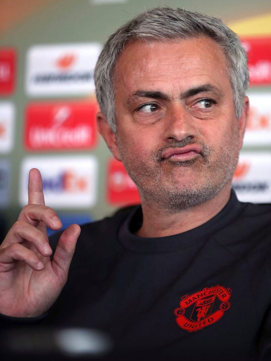 Manchester United manager Jose Mourinho during the press conference at the the club's training complex, in Manchester England  Wednesday April 19, 2017.  United will play Anderlecht in a Europa League quarterfinal match  on Thursday. (Nick Potts/PA via AP)