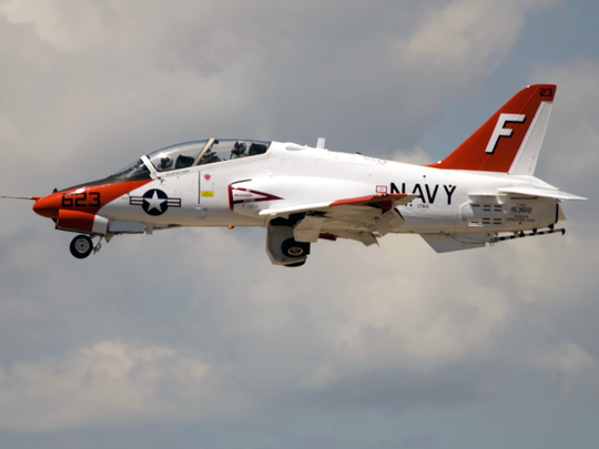 A T-45 Goshawk flies at Pensacola Naval Air Station in Florida