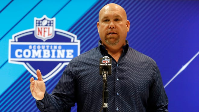 Arizona Cardinals general manager Steve Keim speaks to the media during the 2018 NFL Combine at the Indianapolis Convention Center.