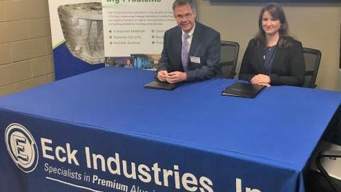 Oak Ridge National Laboratory Director of Technology Transfer Michael Paulus and Eck Industries President Kiley Eck Hayon at the June 7 licensing ceremony.