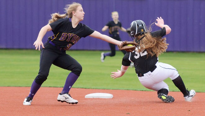 Byrd's Morgan McInnis (20) tries to get Florien's Ryleigh Rutherford (32) out but is tunable to as she steels 2nd base during their game Friday afternoon.