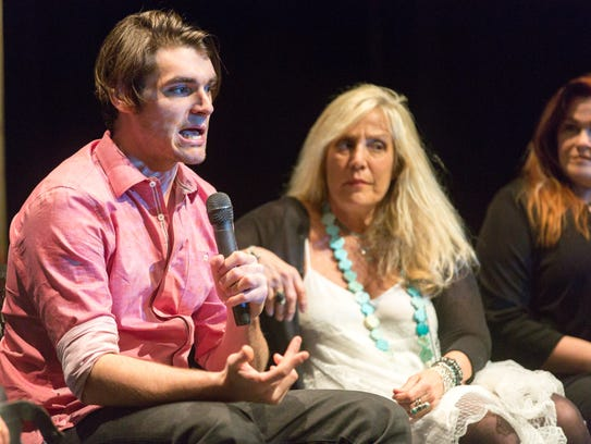 Breaking Bad actor RJ Mitte speaks during a Las Cruces