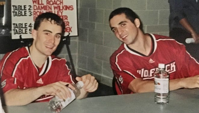 New IU coach Archie Miller (left) and his friend Brian Keeter when they were teammates at NC State in the late 1990s.