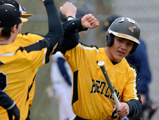 Cole Daugherty, with bat, is seen here in a file photo. In Thursday's 7-2 win vs. Kennard-Dale, Daugherty had two hits and two runs scored.
