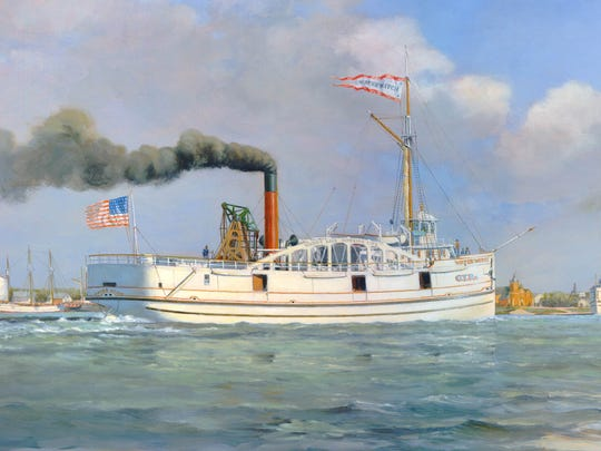 A painting by Robert McGreevy of the Water Witch, a propeller steamer, that was lost on Lake Huron in 1863.