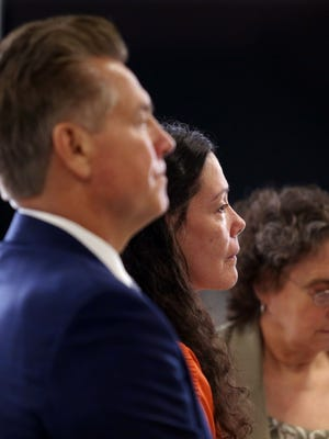 Defense attorney's Edward Bilinkas, l, and Sara Sencer-McArdle with Virginia Vertetis as she is sentenced to 30 years in Morris County Superior Court. Vertetis was found guilty of murder in April after prosecutors argued that she purposely shot her ex-boyfriend, Patrick Gilhuley at her Mount Olive home in 2014 out of desperation that he was breaking up with her. May 23, 2017, Morristown, NJ.