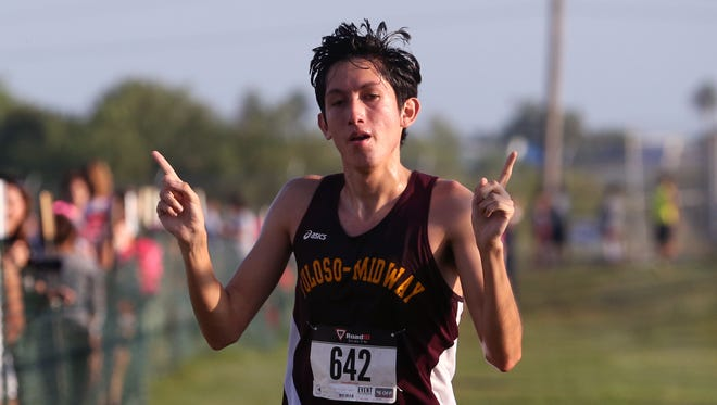 Tuloso-Midway High School varsity boy Aciel Castillo  placed first overall in the District 30-5A cross country meet at Dugan Track Stadium on Friday, October 13, 2017.