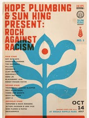 The poster for Rock Against Racism, to be held Oct.