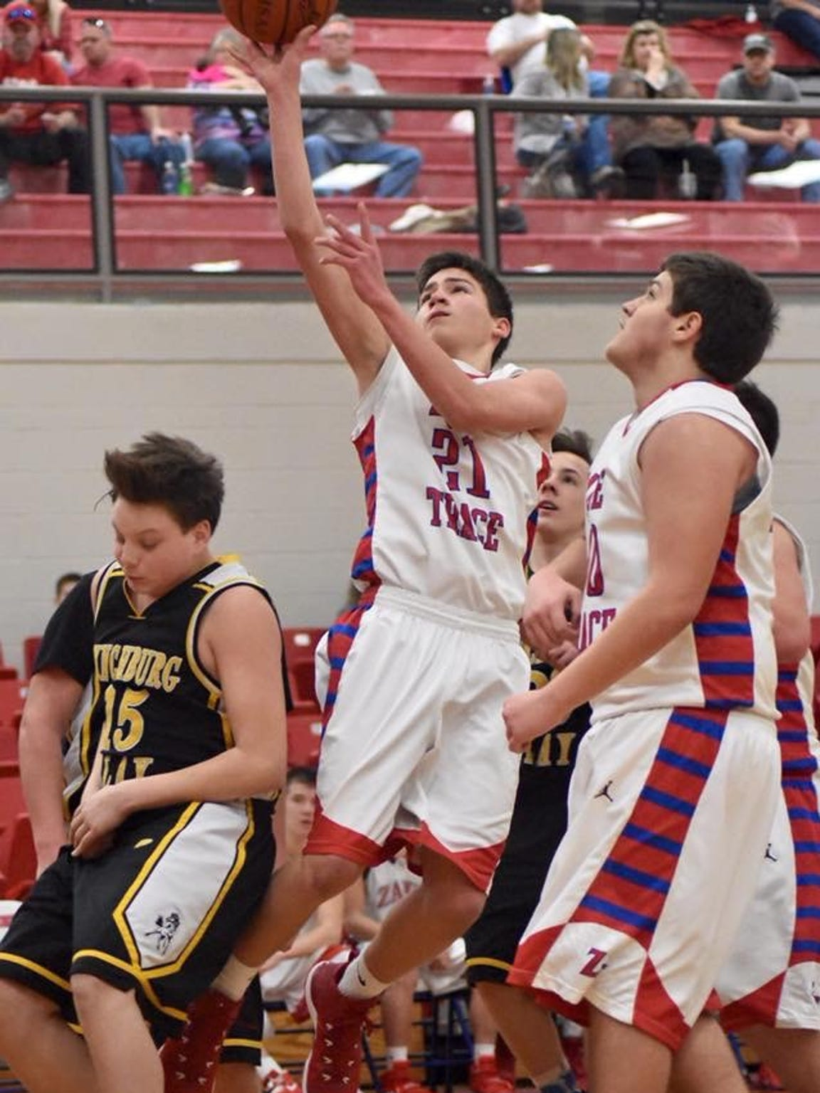Tristan was on track to be an imperative part of Zane Trace's basketball program. Here, he's shown shooting in a junior varsity contest during his freshman year.