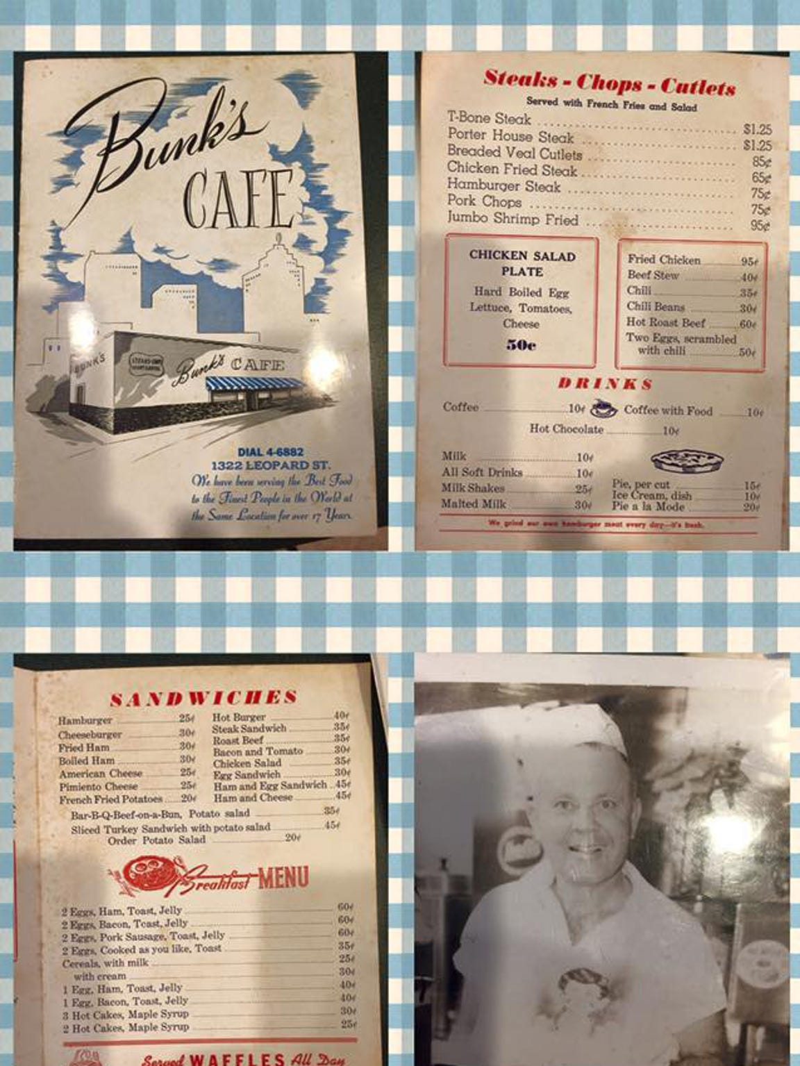 Images of the menu for Bunk's Cafe at 1322 Leopard