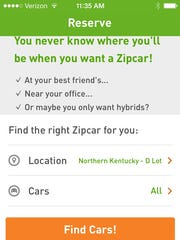 Zipcar's smartphone app lets users rent a car with the click of a button.