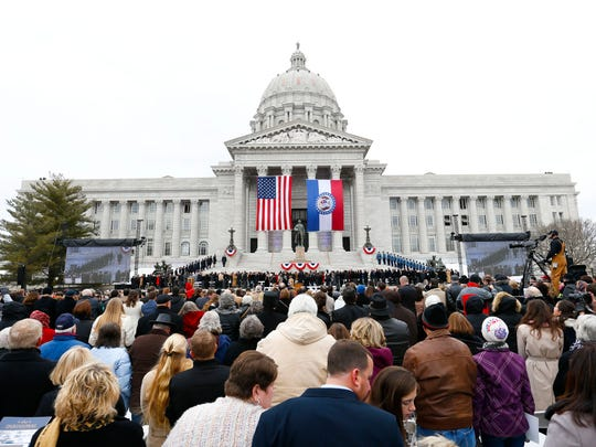Thousands attended the inauguration ceremony of Eric Greitens on the South lawn of the Missouri State Capital on Monday, Jan. 9, 2017.