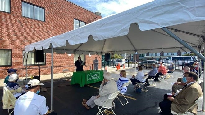 St. Anne's Credit Union held its rescheduled 84th Annual Meeting outdoors at the Credit Union's Corporate Office in Fall River due to social distancing guidelines on Aug. 31.