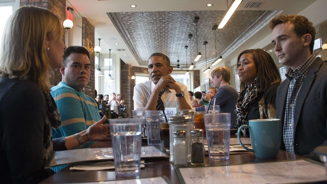 President Obama and his lunch guests.