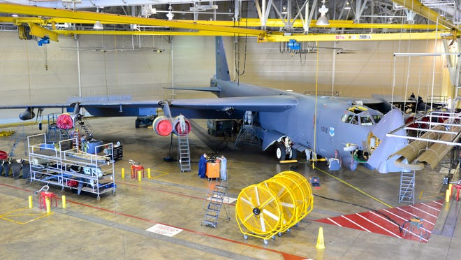 Airmen with the 2nd Maintenance Squadron phase hangar perform a periodic inspection on a B-52H Stratofortress on Barksdale Air Force Base earlier this week. A periodic inspection is performed on all aircraft with more than 450 flight hours. Access panels are removed and inspected by engineers. Each inspection is a 14-day phase starting with panel removal and 11 maintenance flights inspect each component of the aircraft looking for defects. Once finalized, phase airmen completely reassemble the aircraft.