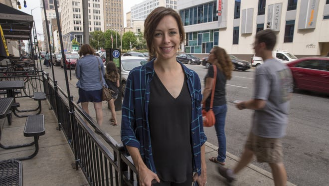 Lindsay Siovaila, Indianapolis, who codes professionally using several different programming languages, including JavaScript Frameworks, HTML, CSS and Mongo, poses for a portrait downtown,  Indianapolis, Monday, August 7, 2017. Siovaila has been active in mentoring women who want to learn this type of computer work.