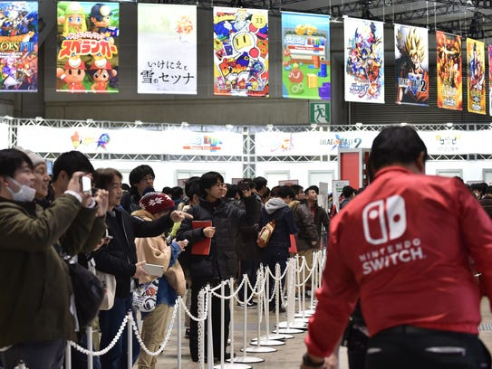 Visitors gather to play Nintendo's new Switch game
