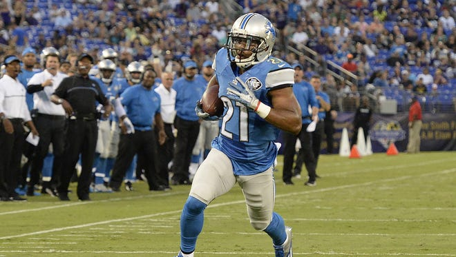Detroit Lions running back Ameer Abdullah (21) runs during the first half against the Baltimore Ravens on Aug. 27, 2016.