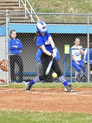 Waynesboro's Alexis Rosenberry hits a ground ball during a non-league game against Lower Dauphin on opening day, Friday, March 24, 2017 at Waynesboro.